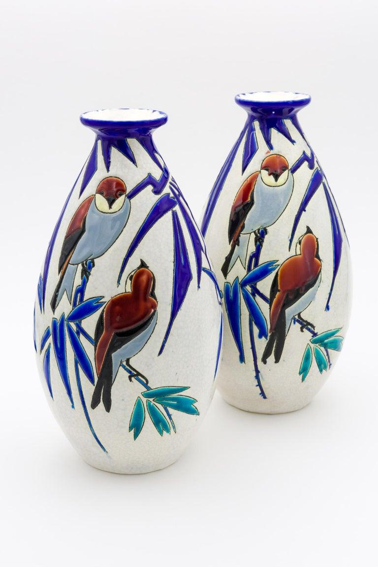 Belgian Pair of 'Vase Aux Hirondelles' by Charles Catteau for Bock Keramis Vases For Sale