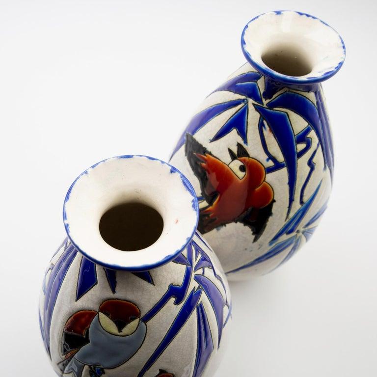 Enameled Pair of 'Vase Aux Hirondelles' by Charles Catteau for Bock Keramis Vases For Sale