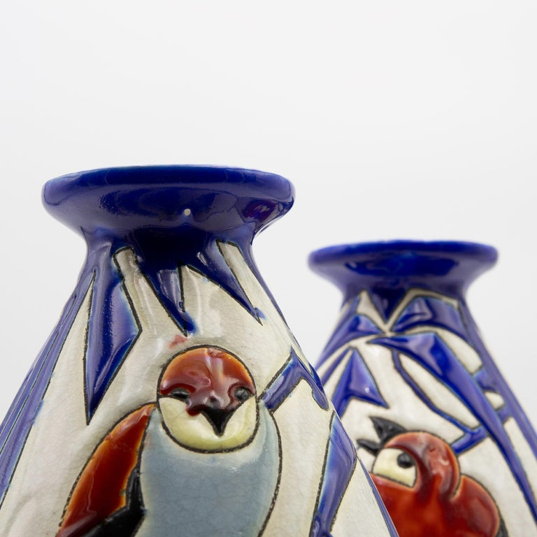 Pair of 'Vase Aux Hirondelles' by Charles Catteau for Bock Keramis Vases In Good Condition For Sale In Brussels, BE