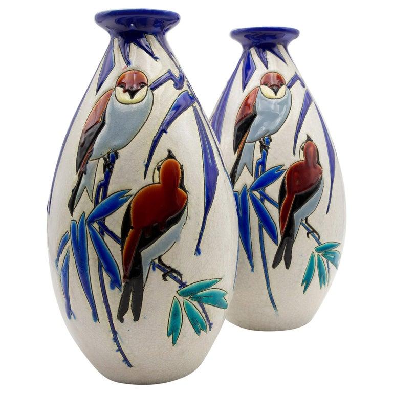 Pair of 'Vase Aux Hirondelles' by Charles Catteau for Bock Keramis Vases For Sale