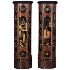 Pair of Vase Holding Columns Wood, Italy, Mid 19th Century