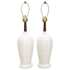 Pair of Vase Shape Glazed Ceramic Pottery Walnut Table Lamps