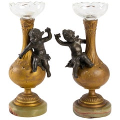 Pair of Vases for 1 Flower Head, Signed Moreau, Napoleon III Period in Golden