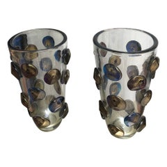Pair of Vases in Murano Glass Signed A.Dona