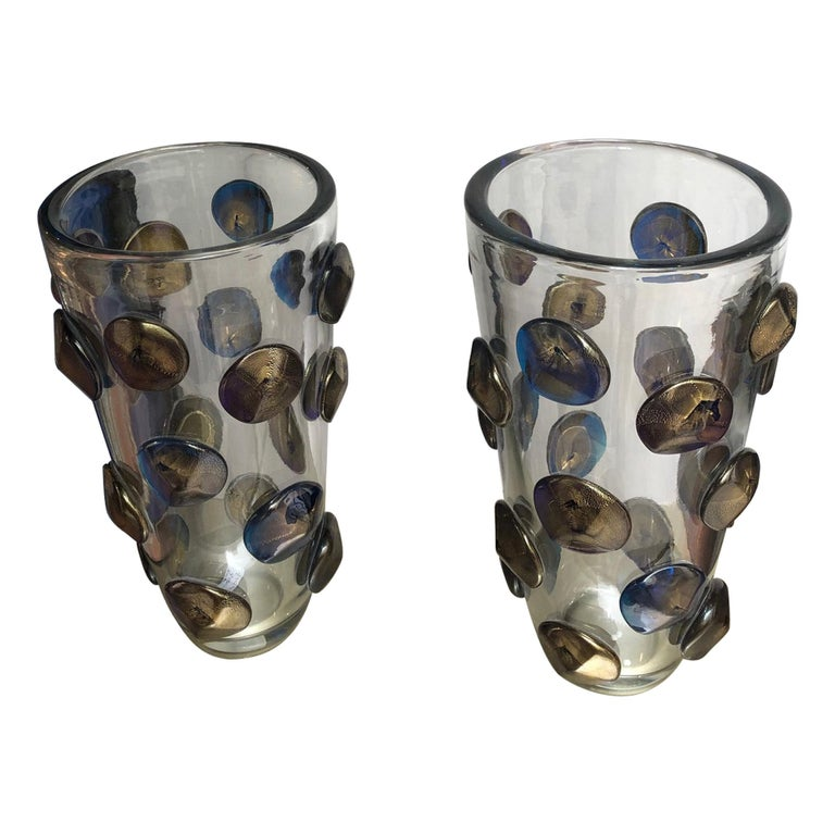 Pair of Vases in Murano Glass Signed A.Dona For Sale