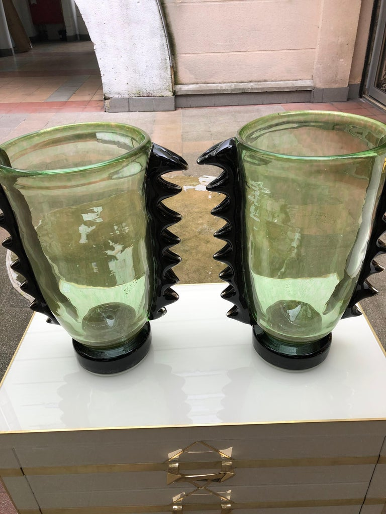 "Pair of vases in Murano glass signed ""Costantini Murano""."