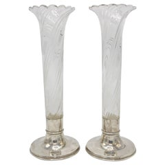 Pair of Vases, London 1900, 925 Sterling Silver, and Glas, Hallmarked