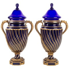 Pair of Vases Sèvres, Mounts Anses and Gilt Bronze, Sèvres Blue Crystal Cover