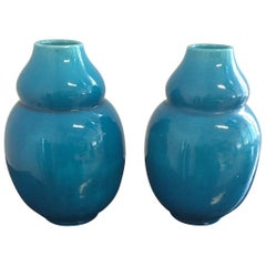 Pair of Vases Vallauris France Color Turquoise