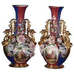 Pair of Vases with Oriental Figures, Attributed to Jacob Petit