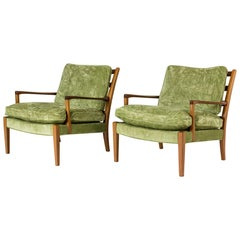 """Pair of Velvet and Mahogany """"Löven"""" Armchairs by Arne Norell, Sweden, 1960s"""