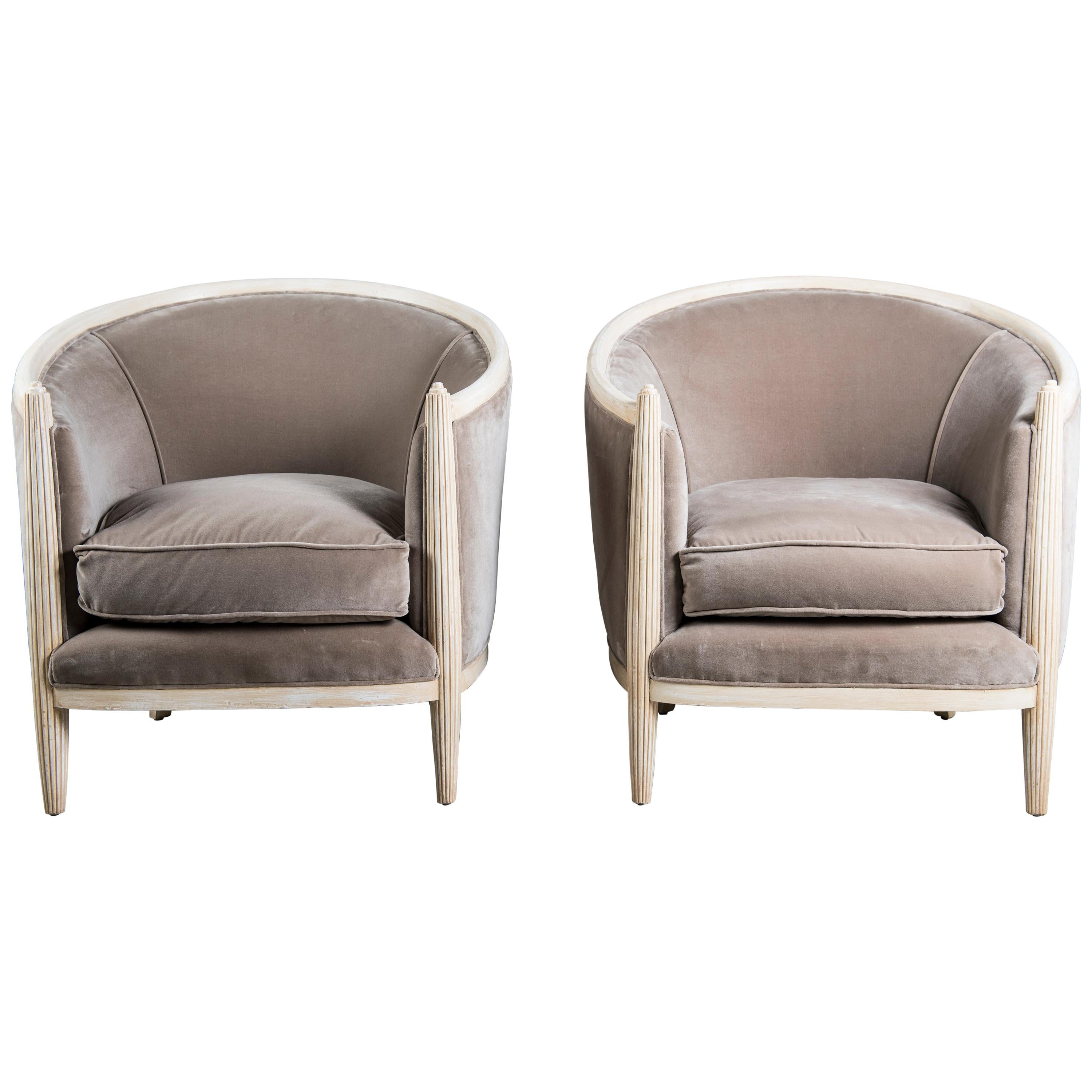 Pair of Velvet and Painted Wood Armchairs, Art Deco Period, Italy, circa 1930