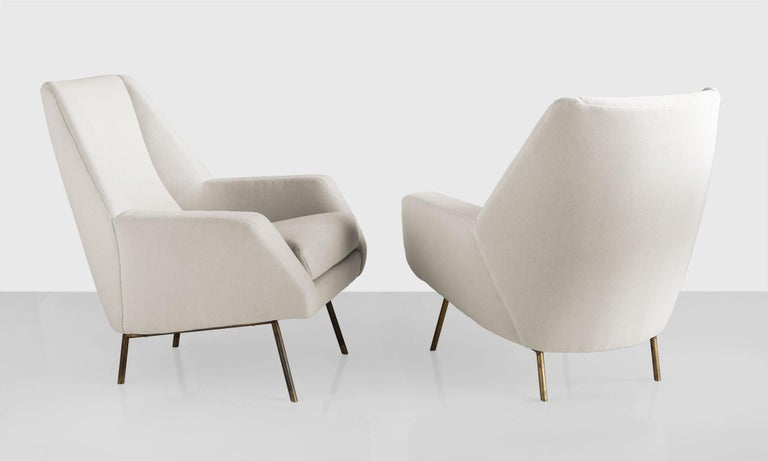 Modern Pair of Velvet Armchairs by Lenzi, Italy, circa 1950 For Sale