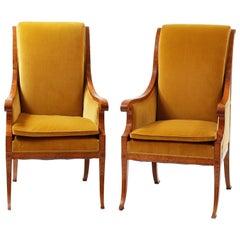 Pair of Velvet Armchairs, Late 1800s