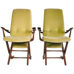 Pair of Velvet Armchairs with High Back in Varnished Wood