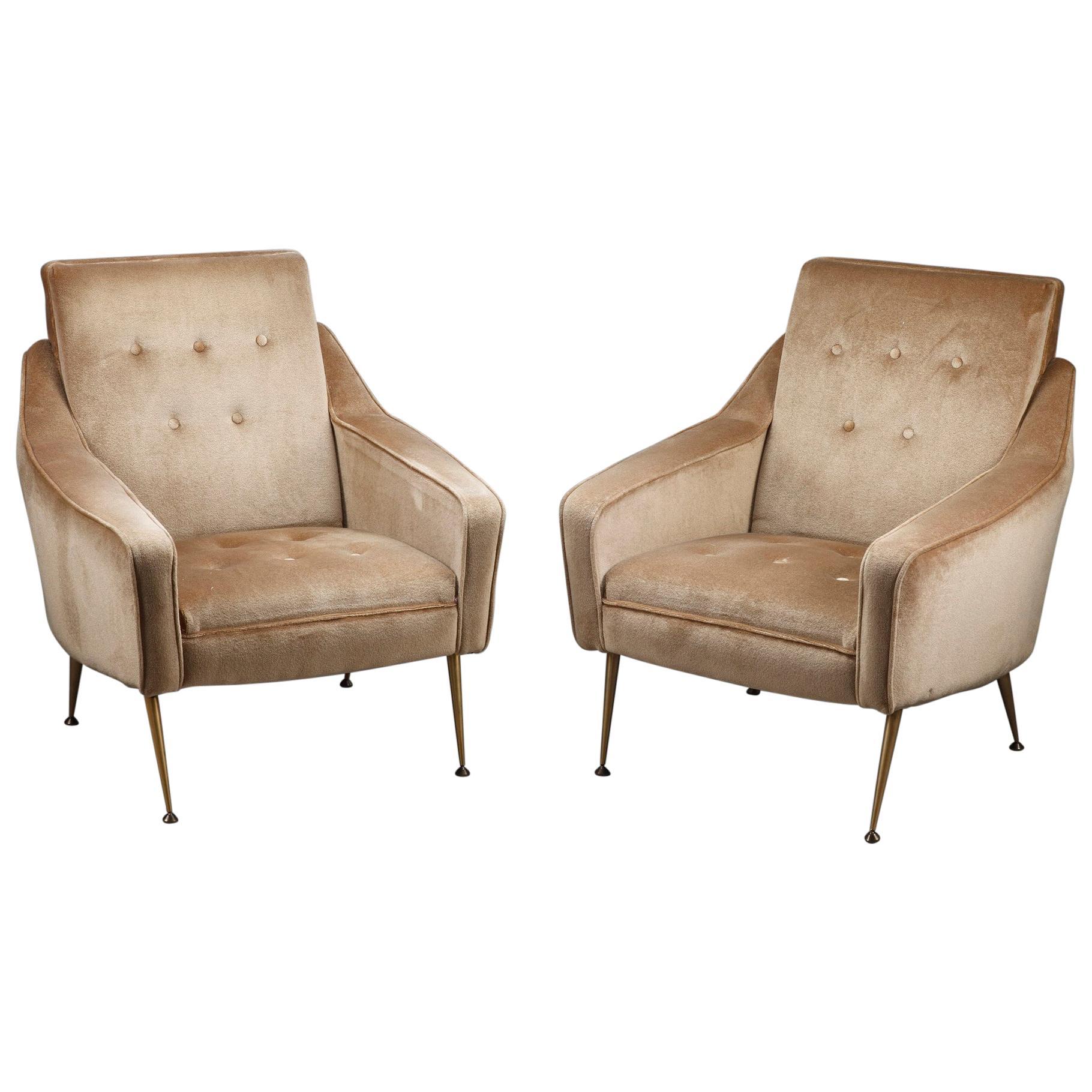 Pair of Velvet Bergère Chairs, 1950s