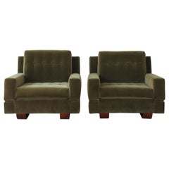 Pair of Velvet Club Chairs, Italy, 1960s