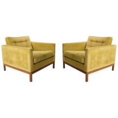 Pair of Velvet Florence Knoll Club / Lounge Chairs with Wood Bases