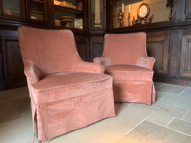 Pair of Velvet Midcentury Lounge Chairs For Sale 5