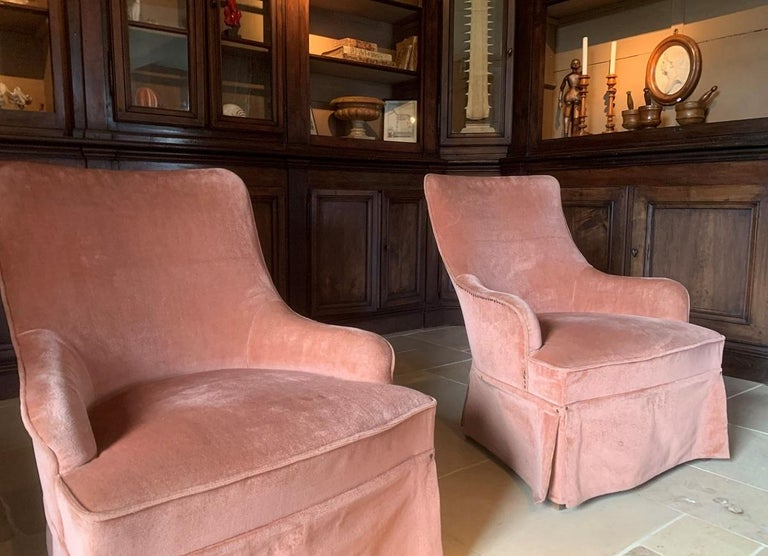 Spanish Pair of Velvet Midcentury Lounge Chairs For Sale