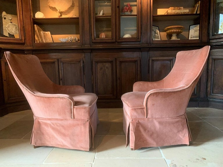 Pair of Velvet Midcentury Lounge Chairs For Sale 1