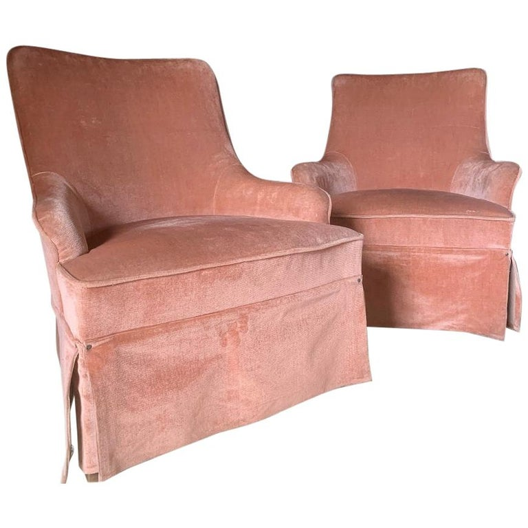 Pair of Velvet Midcentury Lounge Chairs For Sale