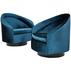 Pair of Velvet Rocking Swivel Chairs by Adrian Pearsall