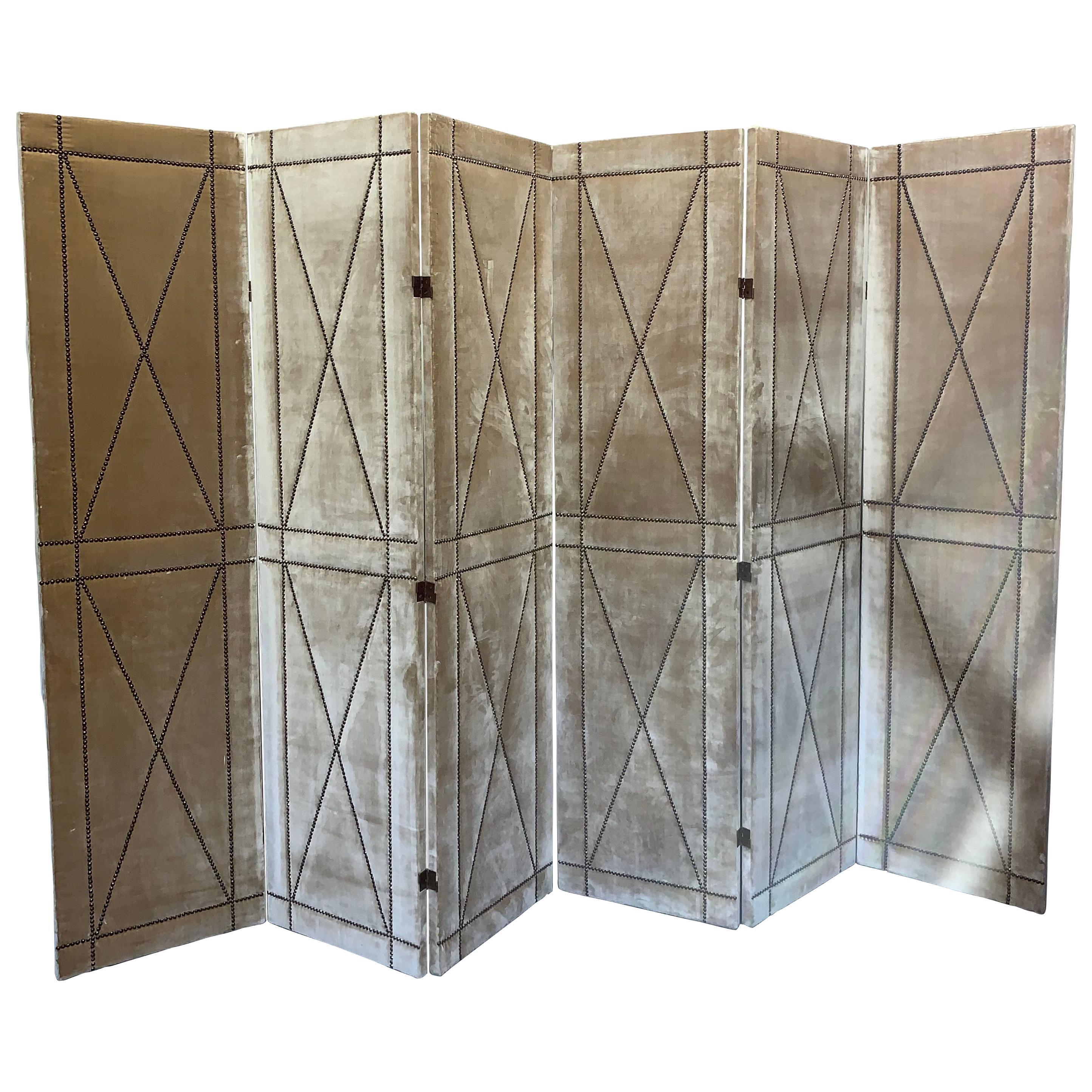 Pair of Velvet Screens with Nailhead Detail Designed by Juan Montoya