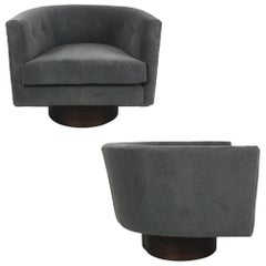 Swivel Tub And Barrel Chairs By Milo Baughman For Sale At
