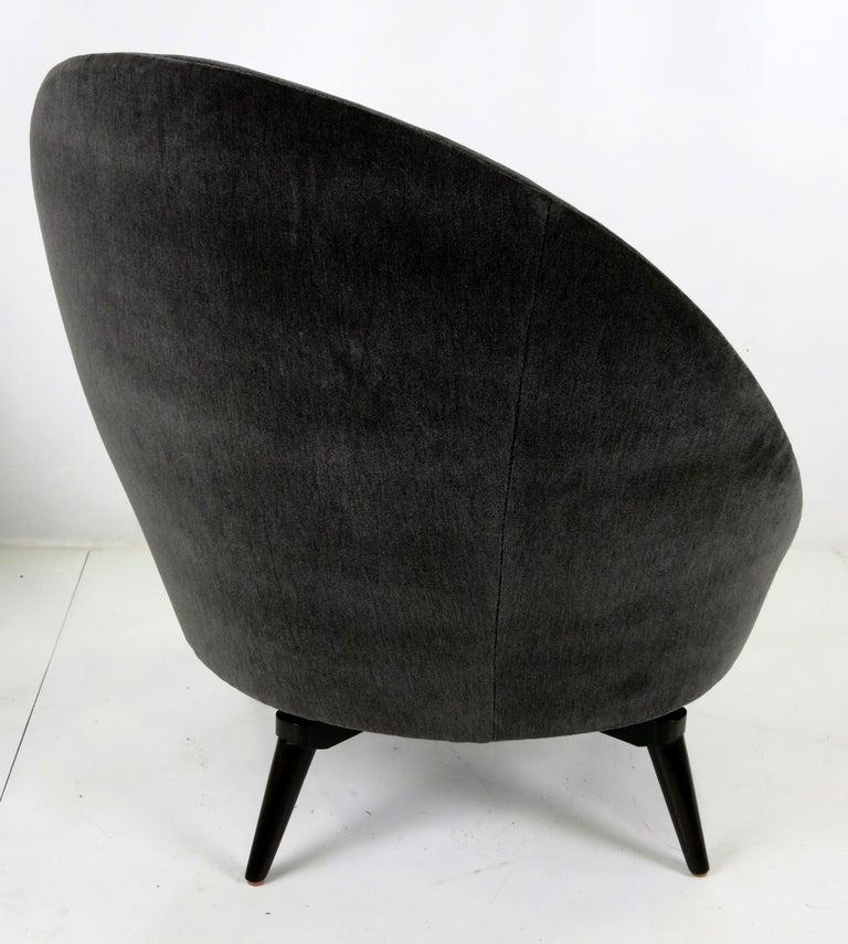 American Pair of Velvet Swivel Egg Chairs For Sale