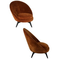 Pair of Burnt Orange Velvet Swivel Egg Chairs