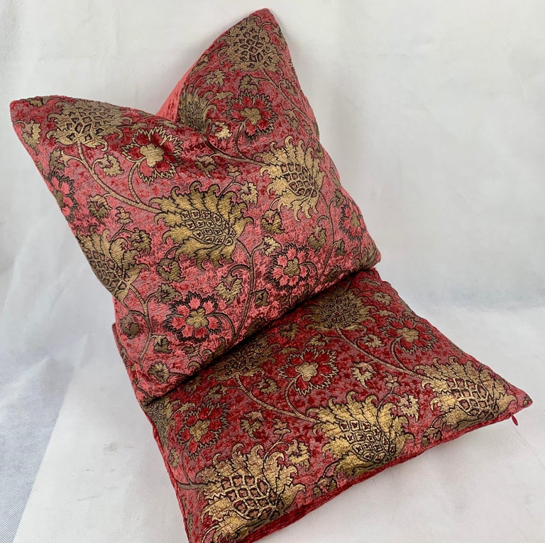 Rococo Revival Pair of Venetia Studium/Fortuny Square Velvet Cushions-the Bizarre Pattern For Sale