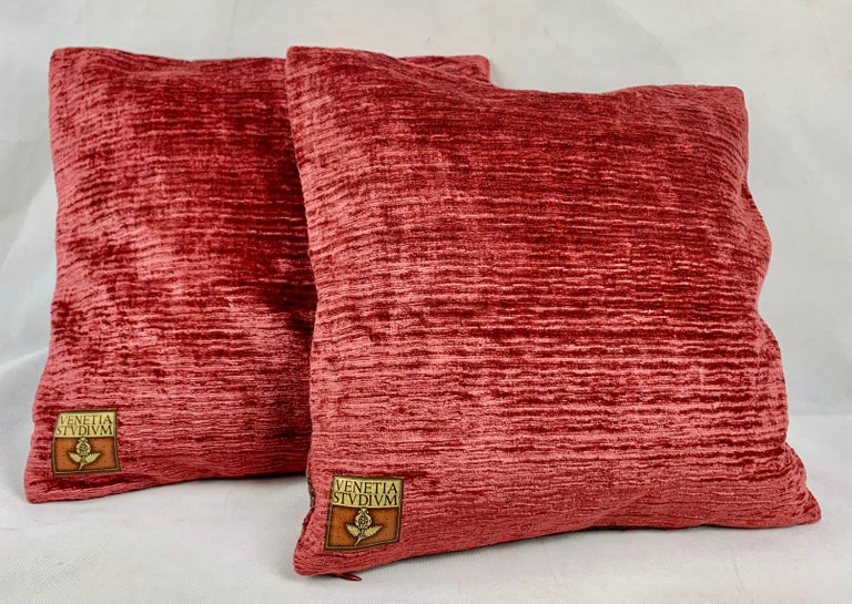 Italian Pair of Venetia Studium/Fortuny Square Velvet Cushions-the Bizarre Pattern For Sale