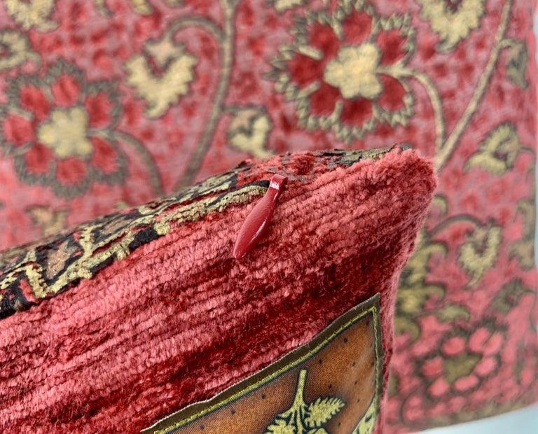 Pair of Venetia Studium/Fortuny Square Velvet Cushions-the Bizarre Pattern For Sale 2
