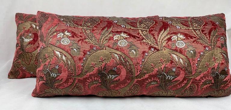 Pair of Venetia Studium/Fortuny Square Velvet Cushions-the Bizarre Pattern For Sale 3