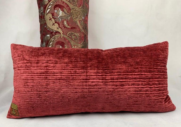 Rococo Revival  Pair of Venetia Studium/Fortuny Oblong Velvet Cushion in the Bizarre Pattern For Sale