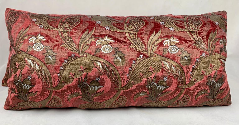 Hand-Crafted  Pair of Venetia Studium/Fortuny Oblong Velvet Cushion in the Bizarre Pattern For Sale