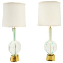 Pair of Venetia Table Lamps by Lightolier, Light Blue and White Striped Glass