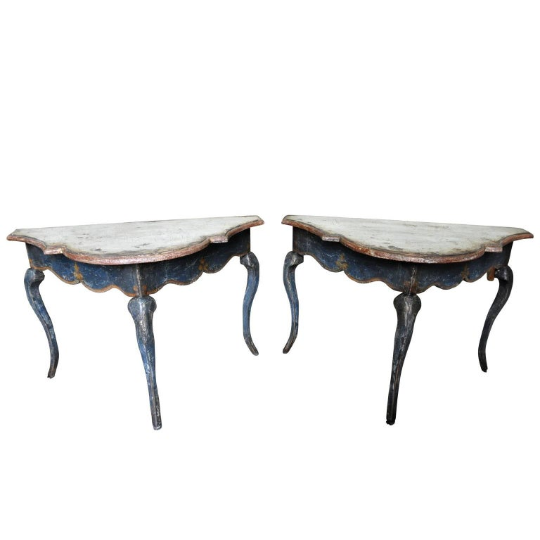 Pair of Venetian 17th Century Style Console Tables, Demilune's