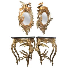 Pair of Venetian 18th-19th Century Rococo Dragon and Bird Mirrors and Consoles