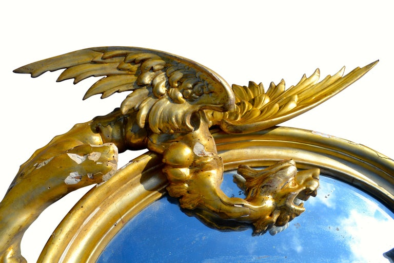 Pair of Venetian 18th-19th Century Rococo Dragon and Bird Mirrors and Consoles For Sale 8