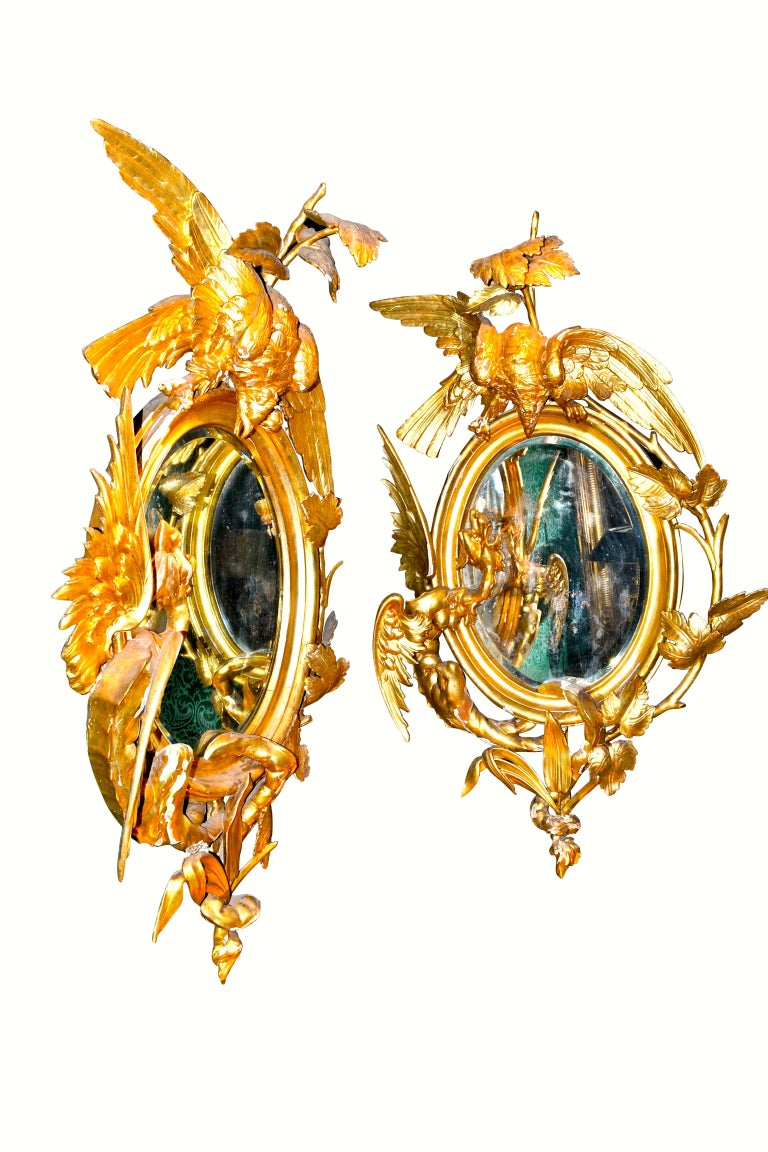 Italian Pair of Venetian 18th-19th Century Rococo Dragon and Bird Mirrors and Consoles For Sale