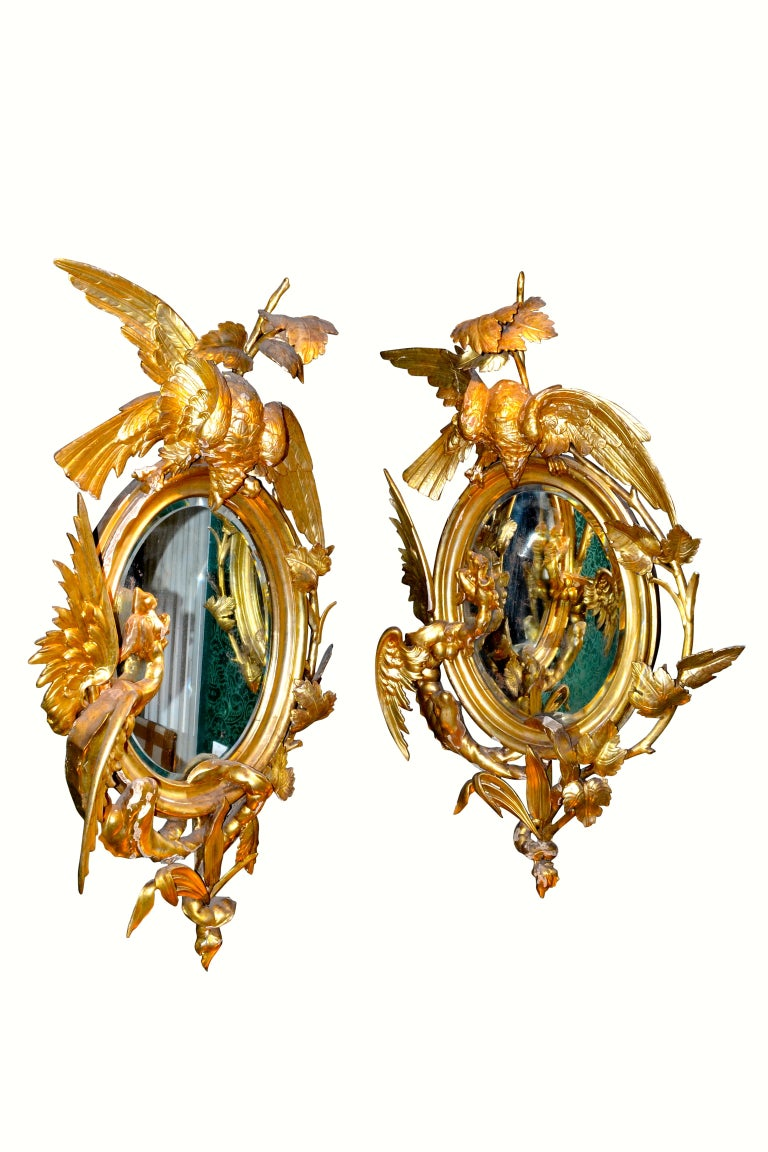 Gilt Pair of Venetian 18th-19th Century Rococo Dragon and Bird Mirrors and Consoles For Sale