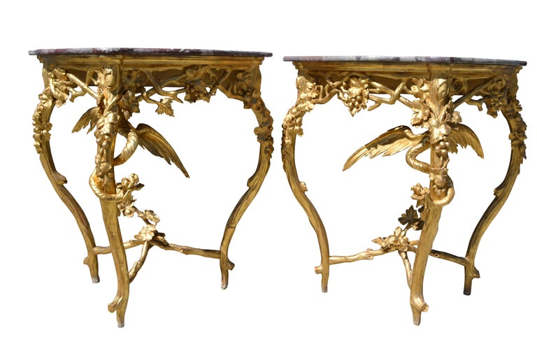 Pair of Venetian 18th-19th Century Rococo Dragon and Bird Mirrors and Consoles For Sale 1
