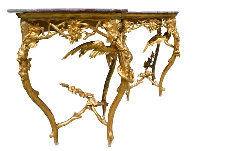 Pair of Venetian 18th-19th Century Rococo Dragon and Bird Mirrors and Consoles For Sale 2