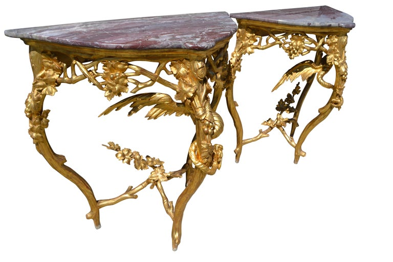Pair of Venetian 18th-19th Century Rococo Dragon and Bird Mirrors and Consoles For Sale 3