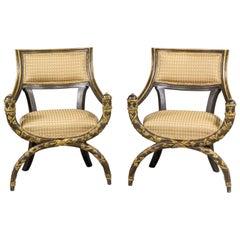Pair of Venetian 19th Century Hand Painted Savonarola Armchairs