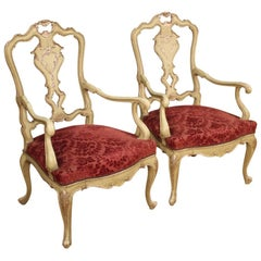 Pair of Venetian Armchairs in Lacquered Wood, 20th Century