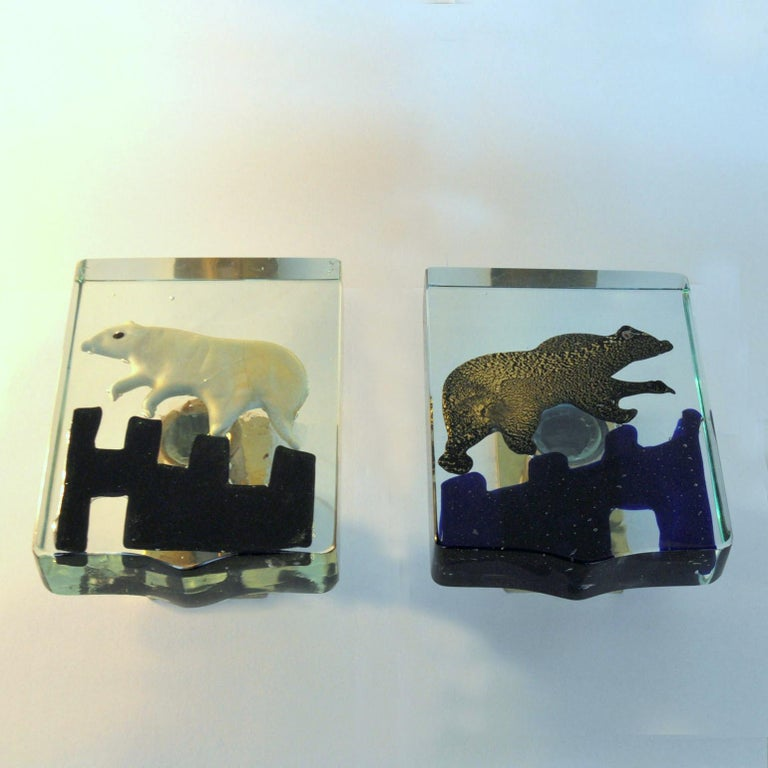 Pair of Venetian Blown Glass Polar Bear Door Handles by Alfredo Barbini, 1940s 11