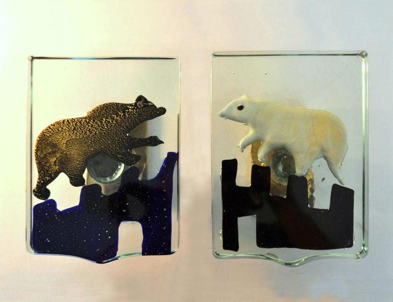 Pair of Venetian Blown Glass Polar Bear Door Handles by Alfredo Barbini, 1940s 1